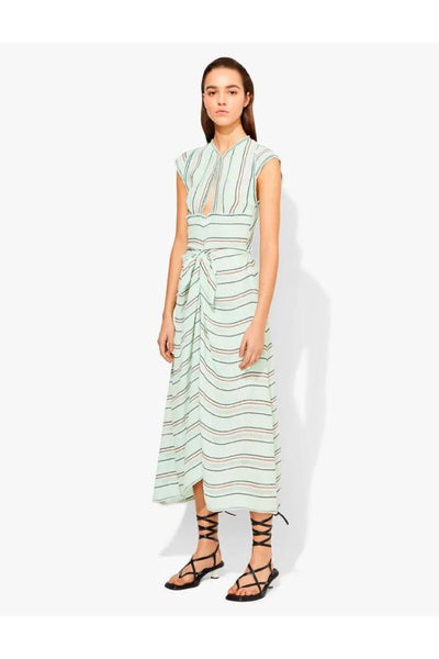 Proenza Schouler Cap Sleeve Stripe Crepe Dress - Spearmint - SIZE 2 (1501393518645)