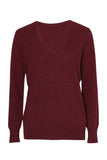 Vaille Cashmere Reversible V-Neck Sweater - Burgundy