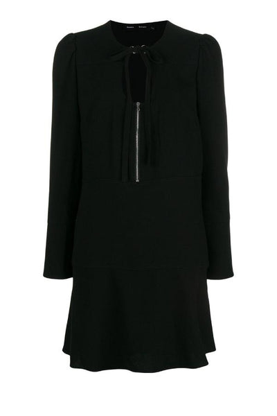 Proenza Schouler Textured Crepe Long Sleeve Dress - Black