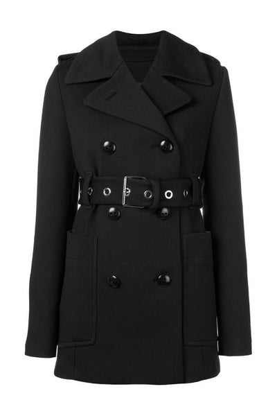 Proenza Schouler Double Breasted Short Coat - Black