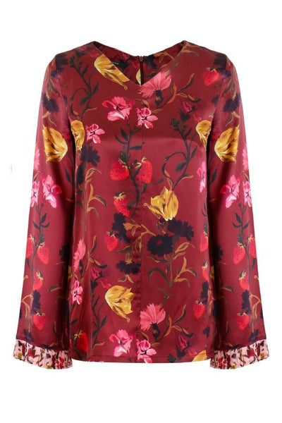 Mother of Pearl Kathleen Long Sleeve Top - Russet Floral/ Odette Floral