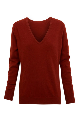 Vaille V-Neck Cashmere Sweater - Brique (3769485361205)
