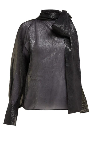 Petar Petrov Bray Tie Neck One Shoulder Metallic Blouse - Black (1561954844725)
