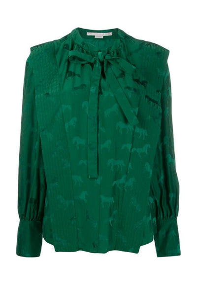 Stella McCartney Horses Jacquard Blouse - Leaf Green - SIZE 40 (3850336829493)