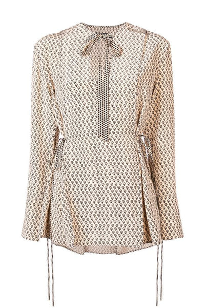 Proenza Schouler Long Sleeve Printed Silk Blouse - Blush/ Black Floral