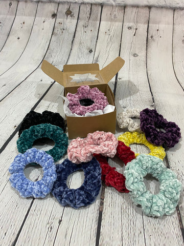 3-Pack Scrunchies, Crocheted Velvet Scrunchies, Velvet Scrunchies, Gifts for Her, Valentines Gift, Scrunchies Gift Box, Assorted Scrunchies