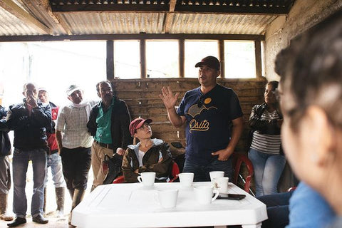 osito talking at the drying house in Huila, Colombia
