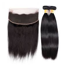 2 pc bundle deal virgin straight   with 13 by 4 lace frontal  , hair for black women