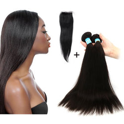 2 pc bundle deal virgin straight with 5by5 closure  , hair for black women