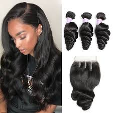 3 pc bundle deal virgin loose wave  with 5by5 closure  , hair for black women