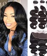 2 pc bundle deal virgin raw body wave with 13 by 6 lace frontal  , hair for black women