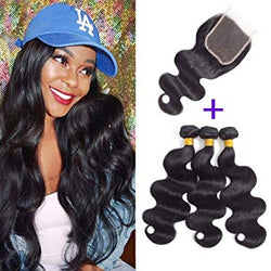 3 pc bundle deal virgin body wave  with 4by4 closure  , hair for black women