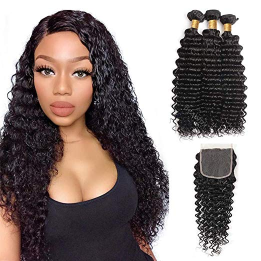 3 pc bundle deal virgin deep wave  with 4by4 closure  , hair for black women