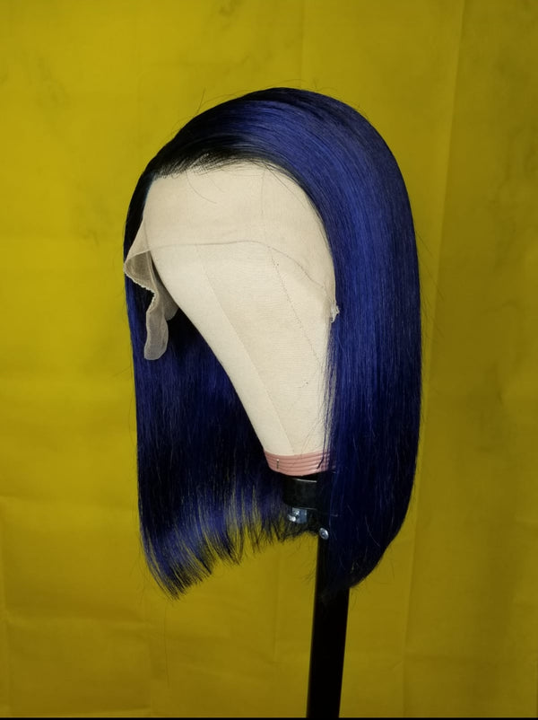 MIDNIGHT BLUE BOB Wig -   Custom  Made Wigs
