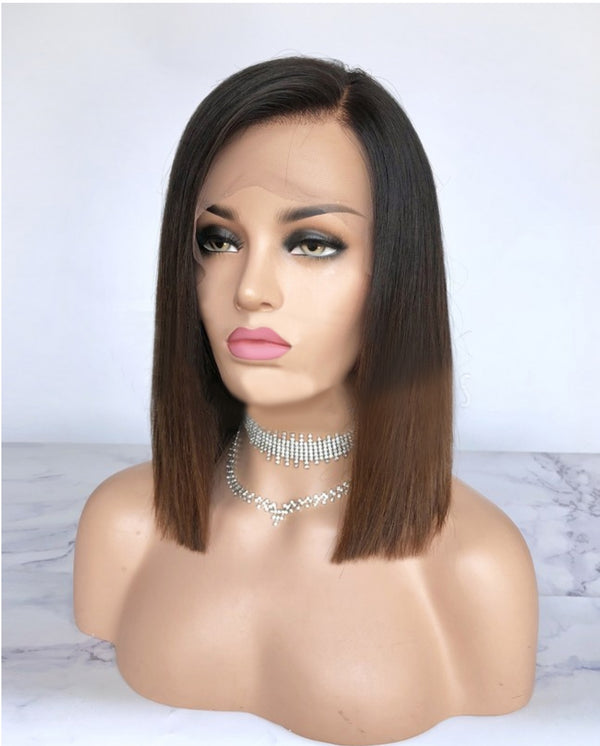 straight hair, natural hair extensions, Virgin hair bob  wigs with bangs Miami extensions  black women natural virgin hair , raw virgin hair , good quality hair , ombre brown bob wig