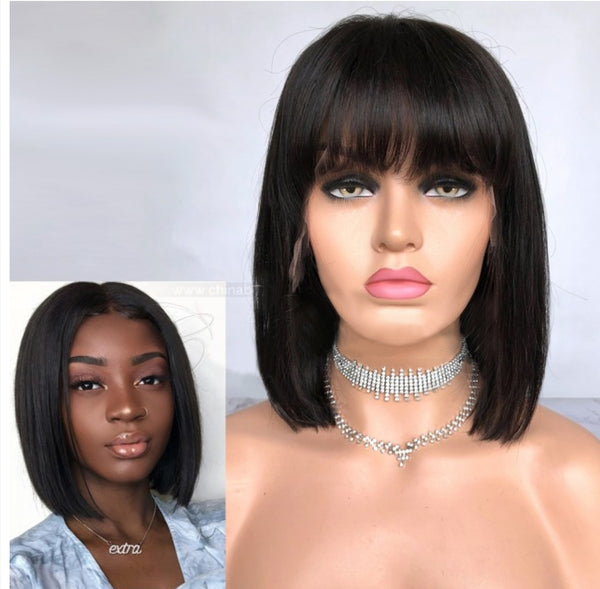 straight hair, natural hair extensions, Virgin hair bob  wigs with bangs Miami extensions  black women natural virgin hair , raw virgin hair , good quality hair