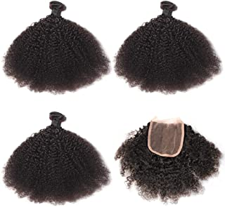 Raw Virgin Afro kinky    -  3 pc bundle + 4 by 4 Lace Closure