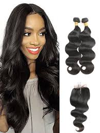 2 pc bundle deal virgin body wave  with 5by5 closure  , hair for black women