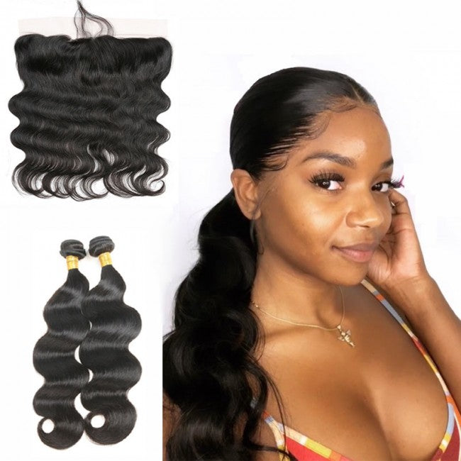 2 pc bundle deal virgin body wave  with 13 by 4 lace frontal  , hair for black women