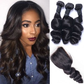 3 pc bundle deal virgin loose wave  with 4by4 closure  , hair for black women