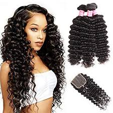 2 pc bundle deal virgin deep wave  with 4by4 closure  , hair for black women