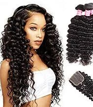 2 pc bundle deal virgin deep wave  with 5by5 closure  , hair for black women