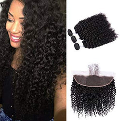 3 pc bundle deal virgin kinky curly  with 13 by 4 lace frontal  , hair for black women