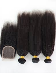 3 pc bundle deal raw kinky Straight  wave  with 4by4 closure  , hair for black women