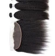2 pc bundle deal virgin raw kinky straight  with 13 by 6 lace frontal  , hair for black women