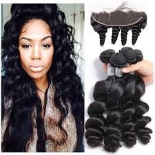 3 pc bundle deal virgin loose wave  with 13 by 6  lace frontal  , hair for black women