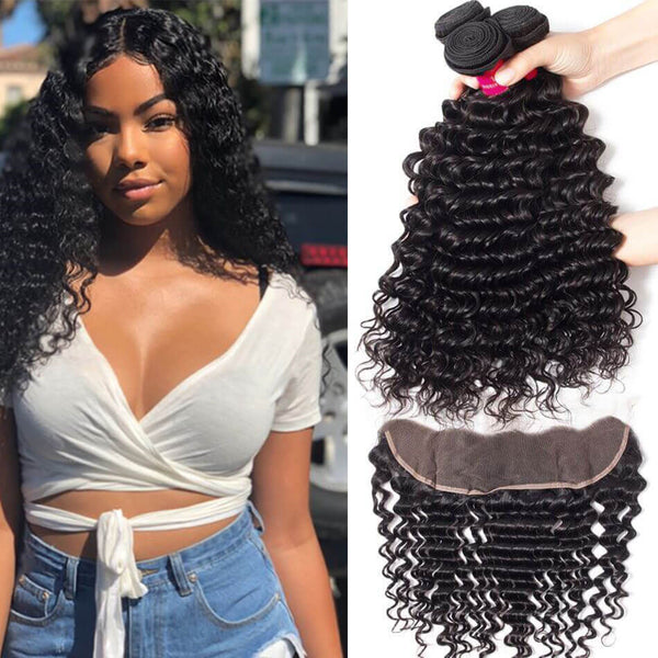 3 pc bundle deal virgin deep wave  with 13 by 6 lace frontal  , hair for black women
