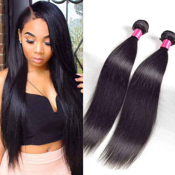 straight hair, natural hair extensions, 2 piece virgin straight Virgin hair  black women natural virgin hair , 10a , good quality hair