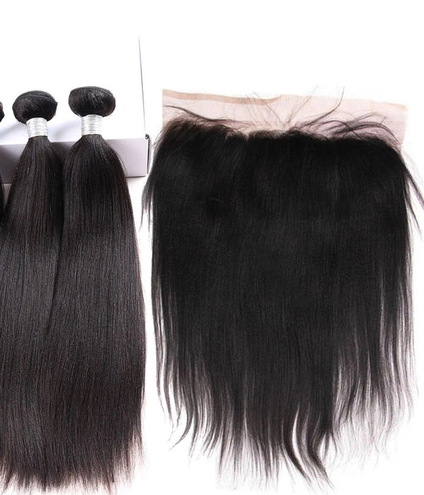 2 pc bundle deal virgin yaki relaxed permed   with 13 by 6 lace frontal  , hair for black women