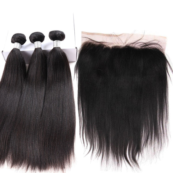 3 pc bundle deal virgin straight  with 13 by 4 lace frontal  , hair for black women