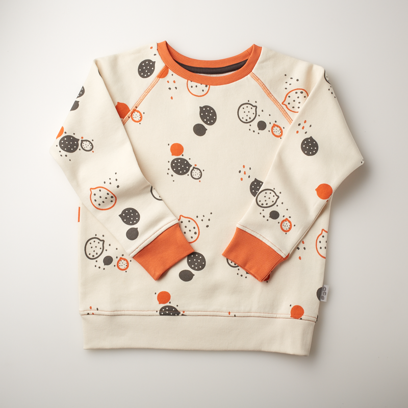 'On the Breeze' - Raglan Sweatshirt - Cream/Orange/Anthracite - Our Little Tribe