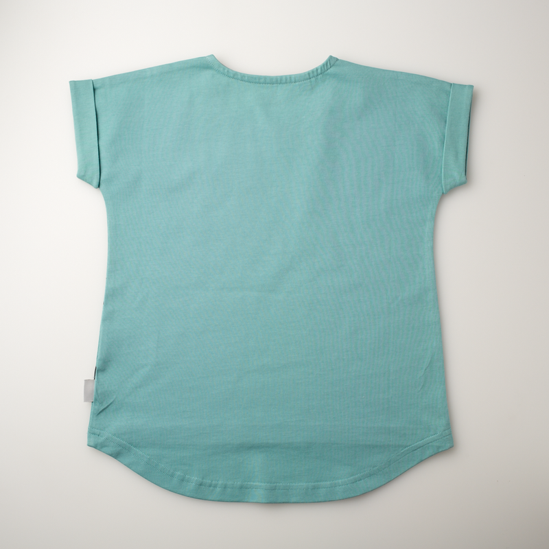 'On the Breeze' - Dipped hem Tee - Teal/Anthracite - Our Little Tribe