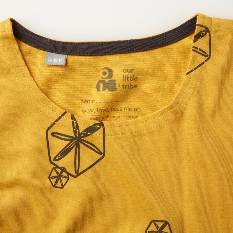 'Pods' - Dipped hem Tee - Ochre/Anthracite - Our Little Tribe