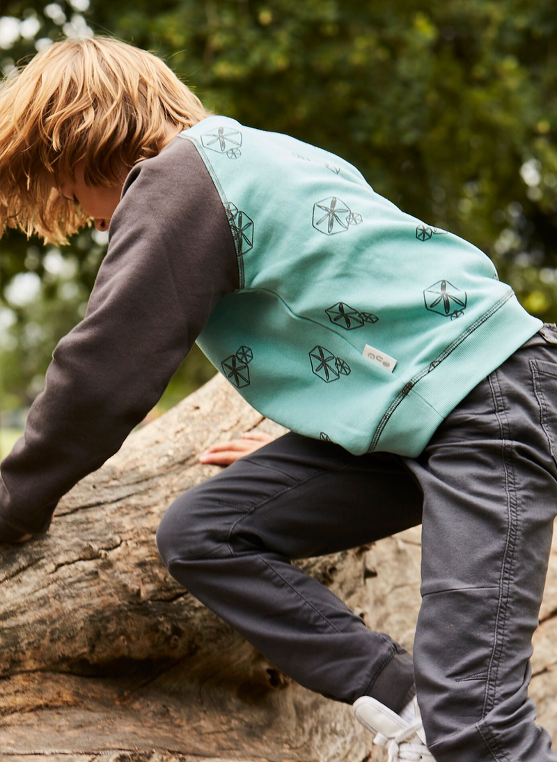 'Pods' - Raglan Sweatshirt - Anthracite/Teal - Our Little Tribe