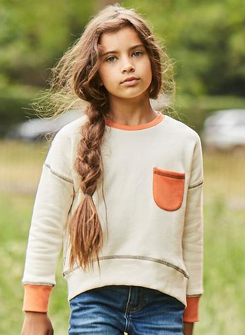 'On the Breeze' - Raglan Sweatshirt - Cream/Orange/Anthracite
