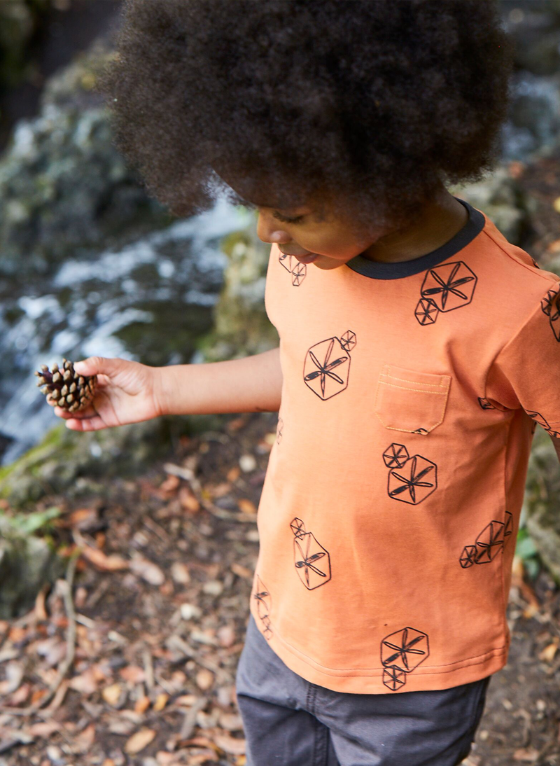 'Pods' - Pocket Tee - Orange/Anthracite - Our Little Tribe