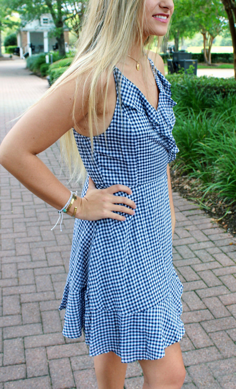 JUNIORS GINGHAM SHORT DRESS