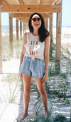 SEA SUN SALT EMBROIDERY COTTON TANK