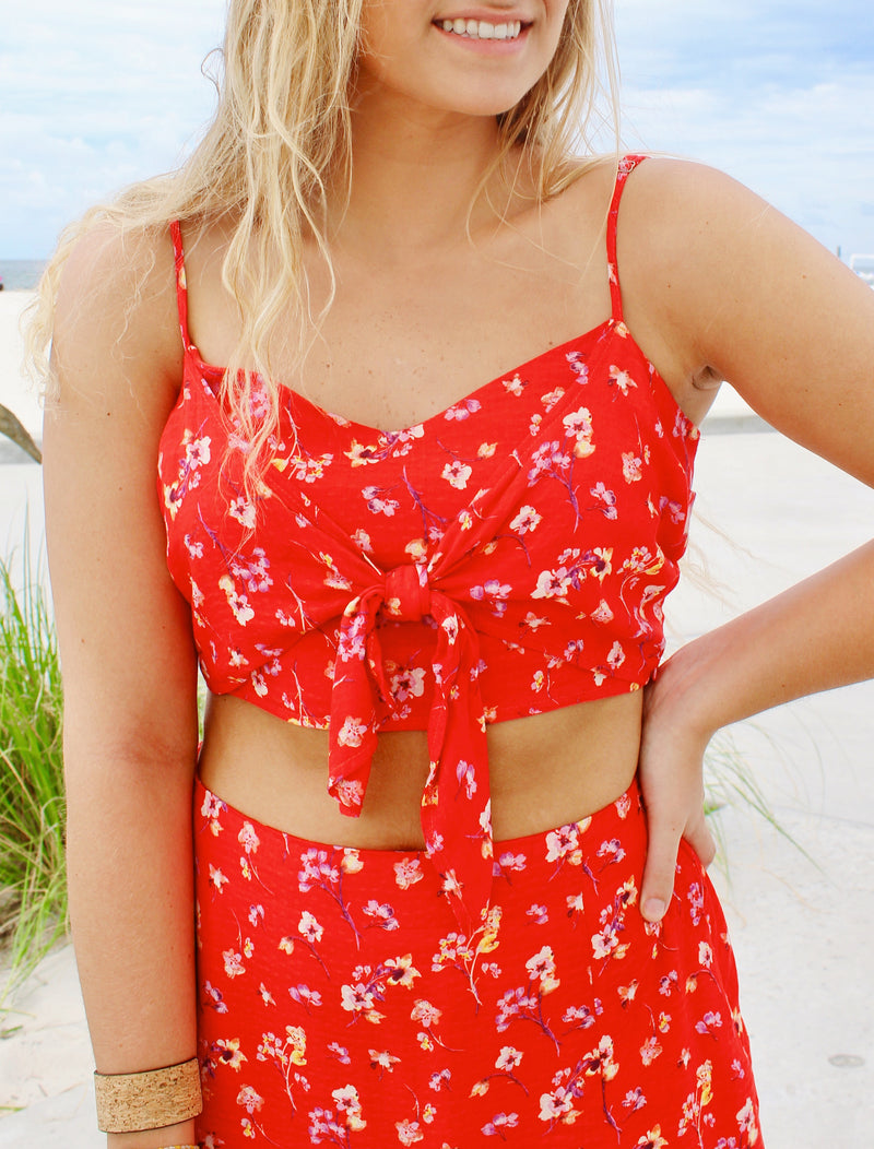 RED FLORAL CROPPED TIE TANK
