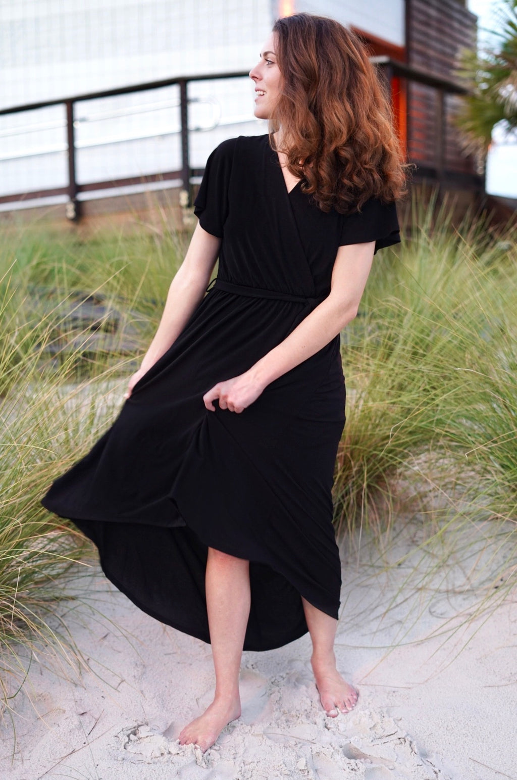 FLOWY TIE MID DRESS