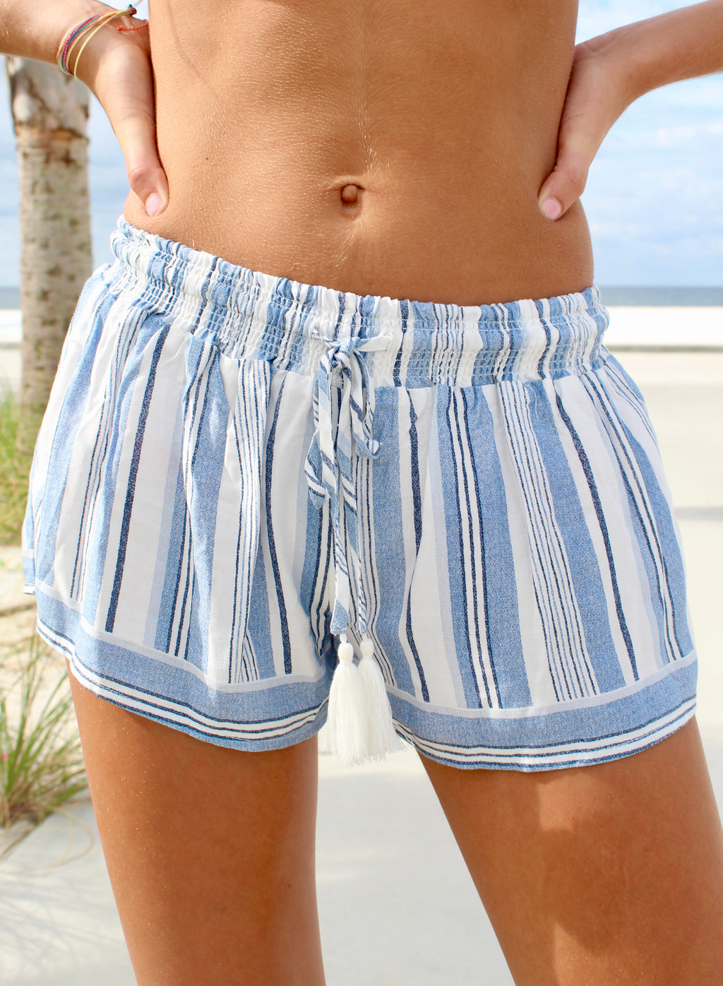 BLUE STRIPE RELAXED TIE SHORT