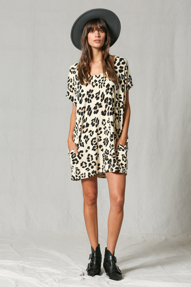 SHORT LEOPARD OVERSIZED POCKET TUNIC