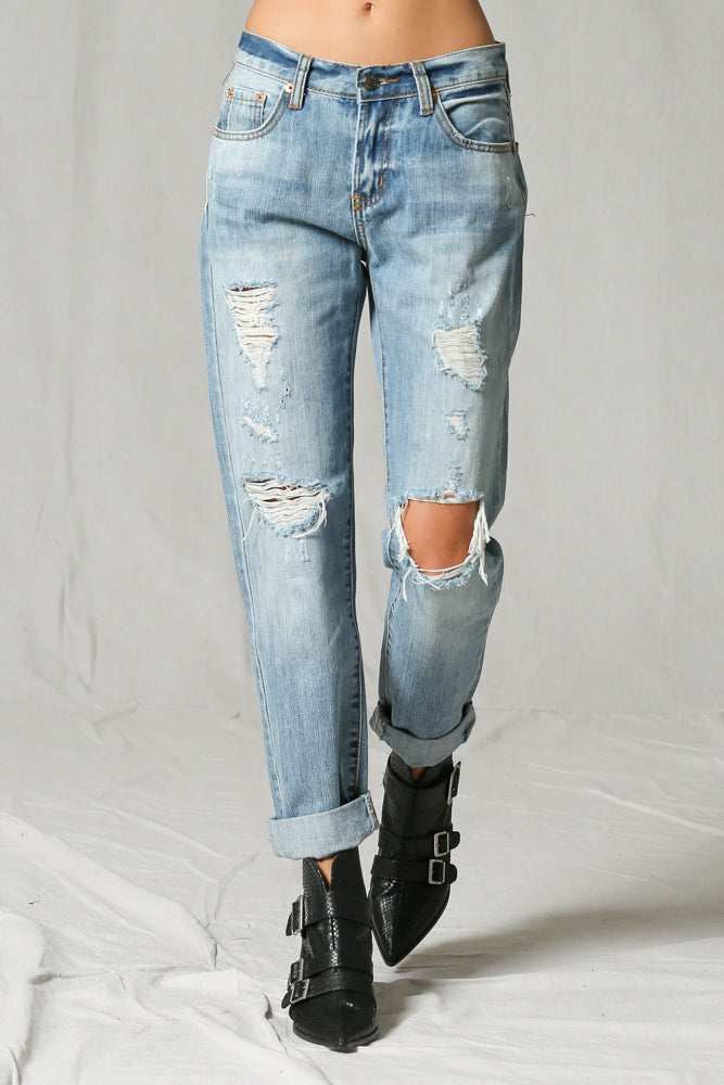 BOYFRIEND LIGHT-MEDIUM WASHED JEAN