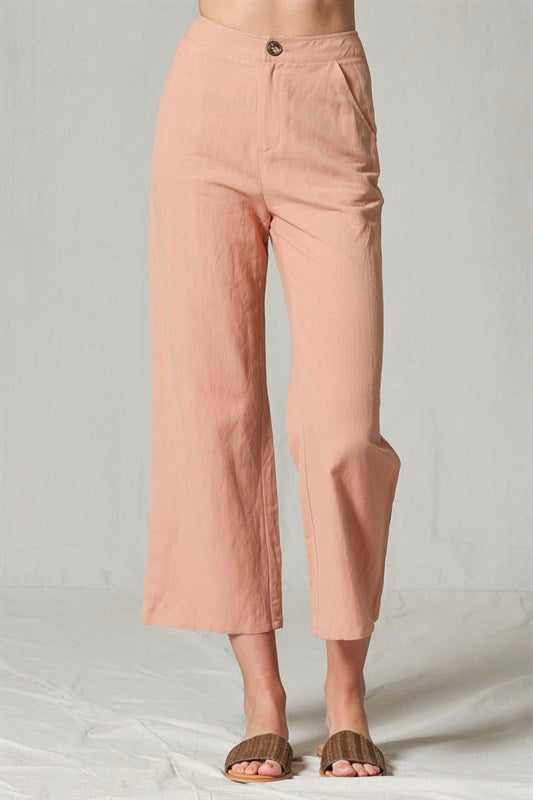 HIGH-WAISTED SALMON MIDI PANT