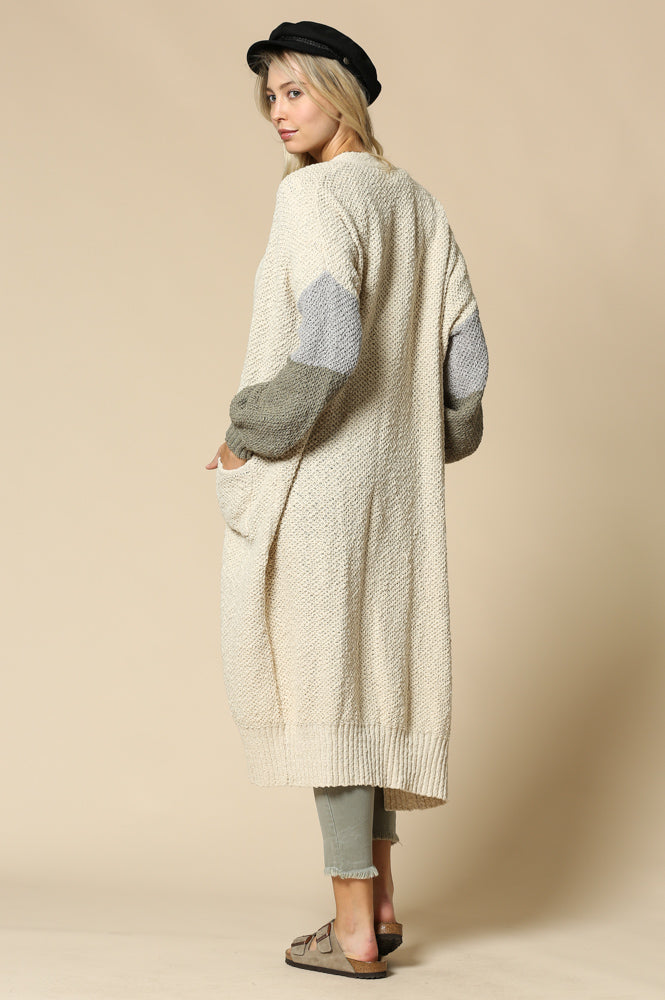KNIT BLOCK LONG CARDIGAN