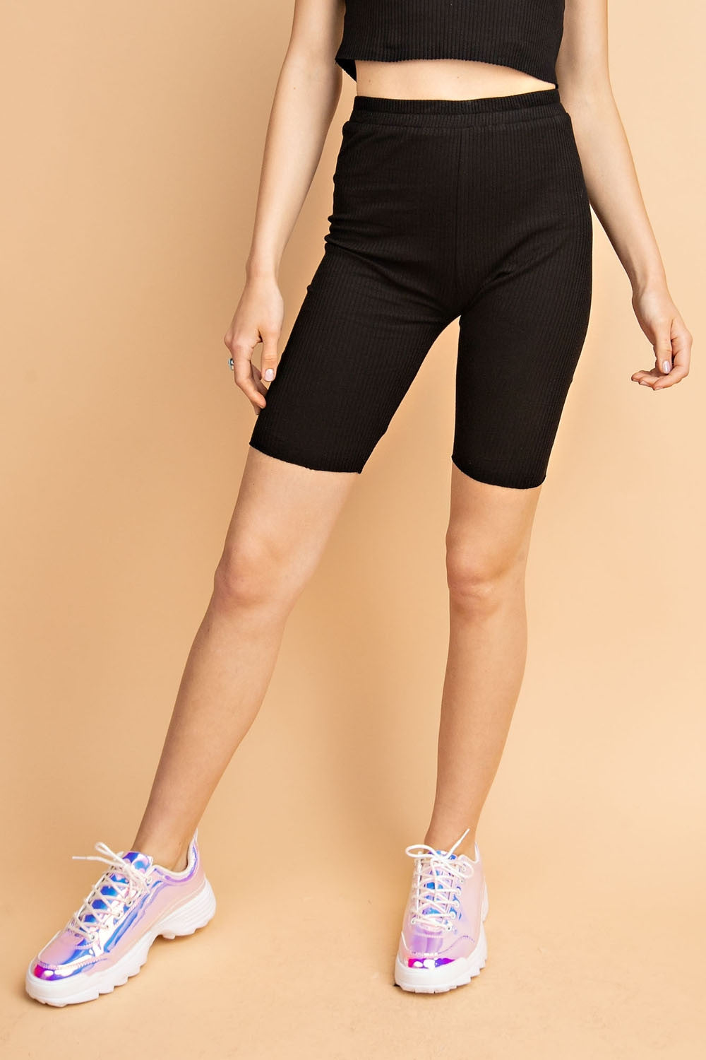 RIB COTTON BIKER SHORTS
